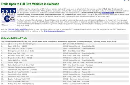 Full Size Trails in Colorado