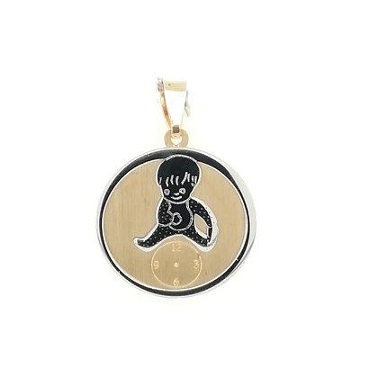 Medalla Reloj y bebé oro 000-07217