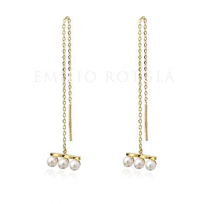 Pendientes colgantes oro amarillo con perlas cultivadas EMPT45614