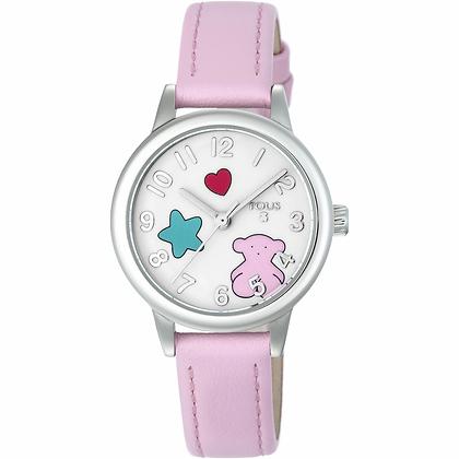 Reloj Muffin de acero con correa de piel rosa - 800350630