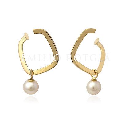 Pendiente cuadrado de oro con perla EM PT4253