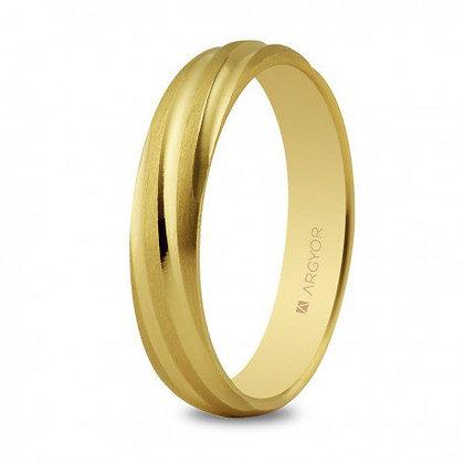 Alianza de boda oro torneada mate-brillo 4mm (5140266)
