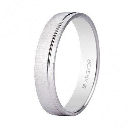 Alianza de boda oro blanco textura-brillo 4,5mm (5B45473)