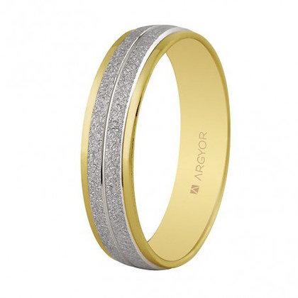 Alianza bicolor oro texturizada brillo 4,60mm (5250386)