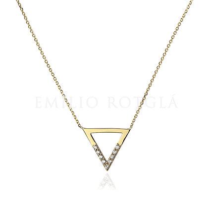 Colgante oro triángulo con circonita EM692-00017
