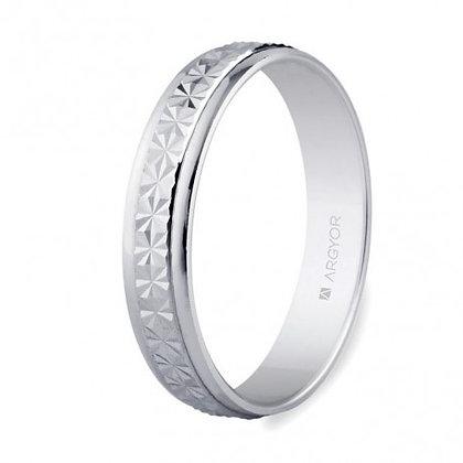Alianza oro blanco diamantada brillo 4mm (5B40108)