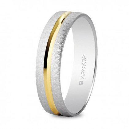 Alianza de boda bicolor texturizada/brillo 4mm (5240474)