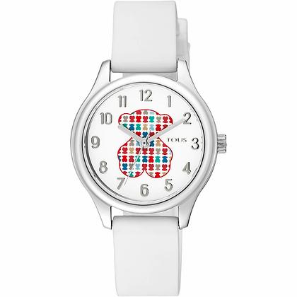 Reloj Tartan Kids de acero con correa de silicona blanca - 900350235