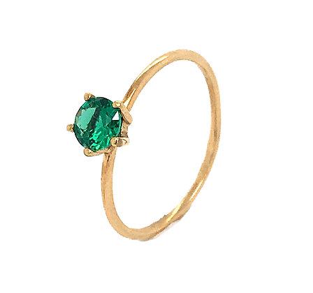 Sortija piedra verde oro de ley