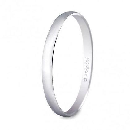 Alianza de boda oro blanco media caña brillo 2mm (5B201)