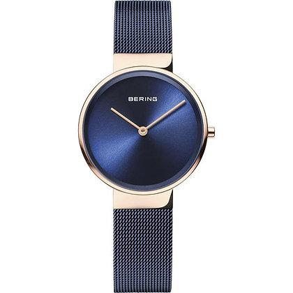 Reloj minimalista azul de mujer caja rosada 14531-367