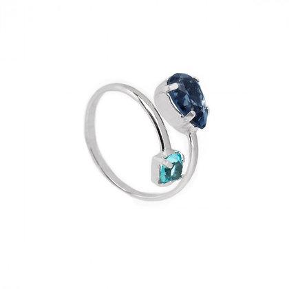 Anillo Transparente Denim Blue - A3630-18HA