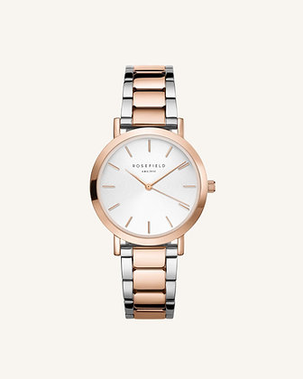The Tribeca Blanco Sunray Acero Plata y oro rosa 33mm - TWSSRG-T64