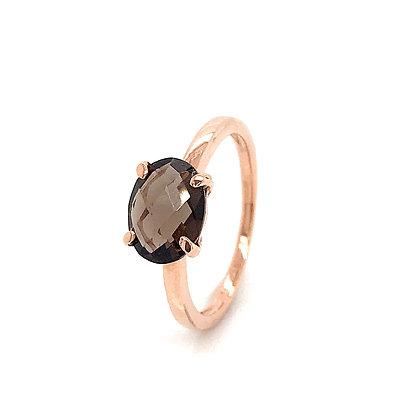 Sortija garras piedra ovalada marrón oro rosa 443-00175