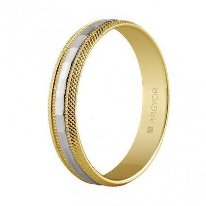 Alianza de boda 2 oros facetada 4mm (5240115)