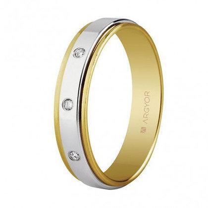 Alianza bicolor oro y diamantes 5mm (55523158)