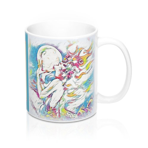Beachy Chic Mermaid Art Coffee Mug Beach Kitchen Decor Between Heaven and Hell