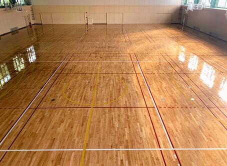 某高校の体育館フローリングを研磨再生しました。(愛知県)