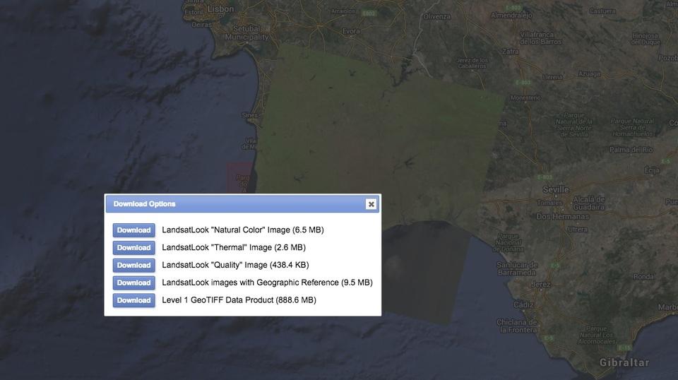os diversos produtos Landsat 8 que podem ser descarregados