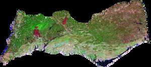 Landsat 8 - imagem de 9 de Setembro de 2016 - falsa cor / bandas 7-5-3 - resolução de 15 metros
