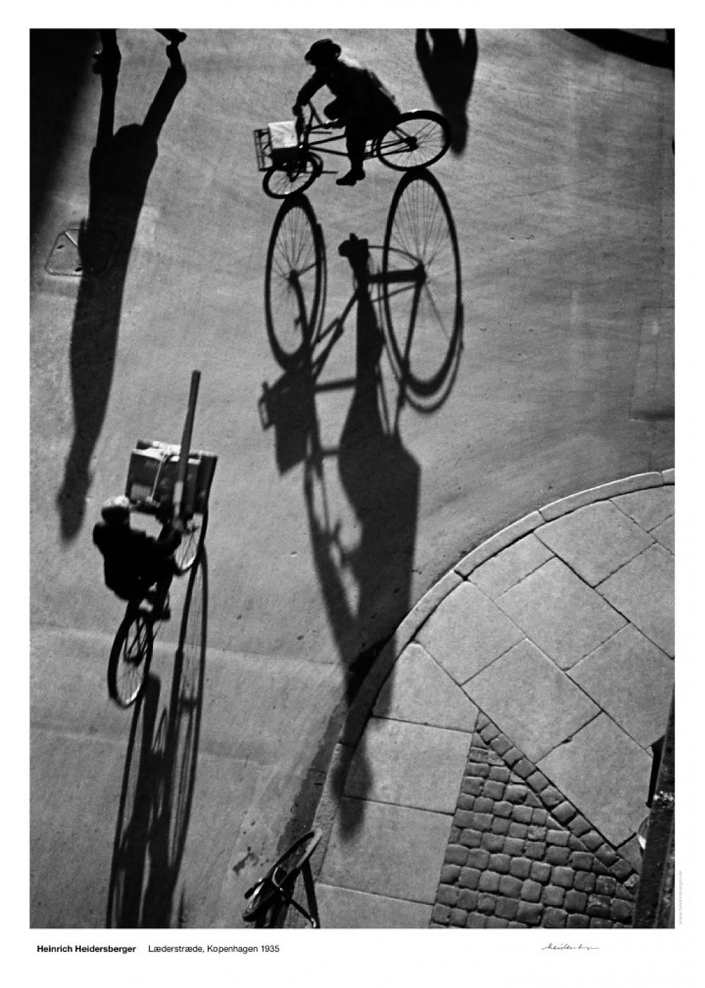 Heinrich Heidersberger 1935 ciclistas na Læderstræde, Kopenhagen