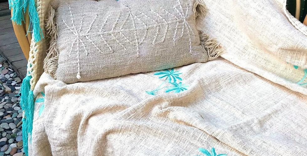Bali throw Palmtree aqua