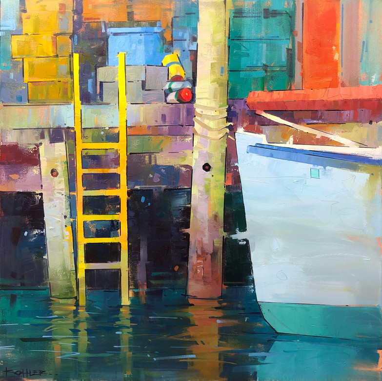 Composition With Yellow Ladder | 30x30