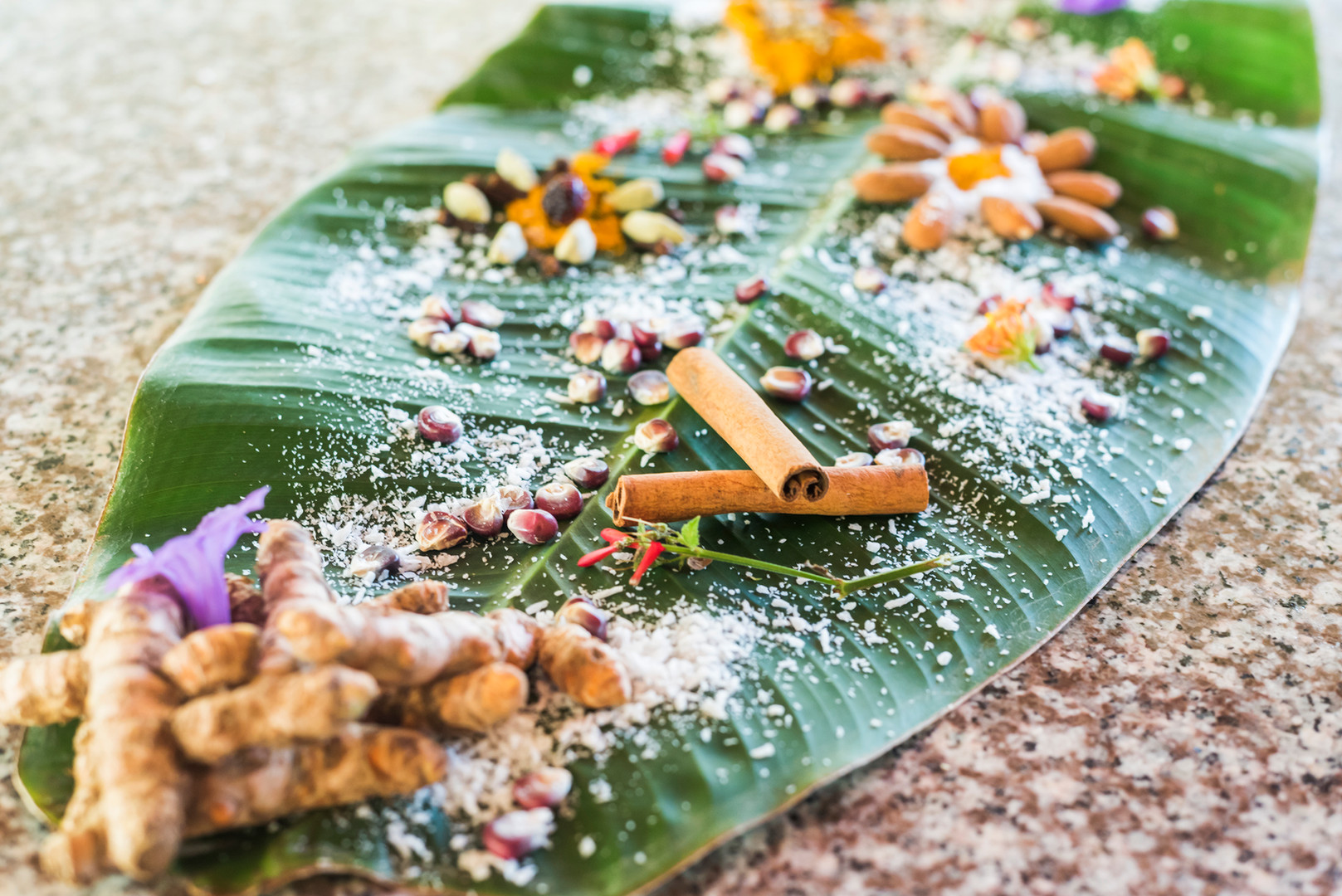 Spices on Banana Leaf