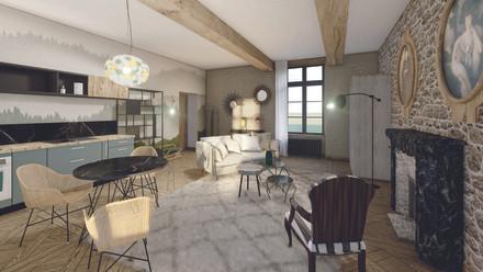 Salon & cuisine de la suite de luxe en R+1