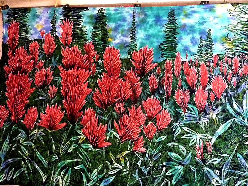 Paintbrush Flowers Finished Batik