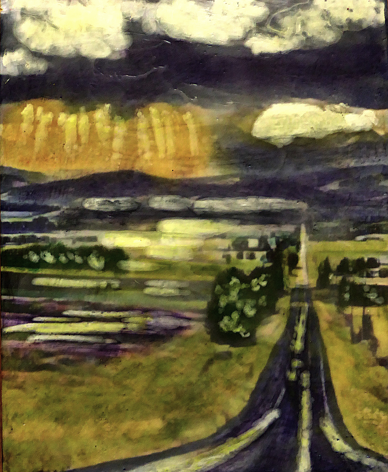 Country Road - photo encaustic