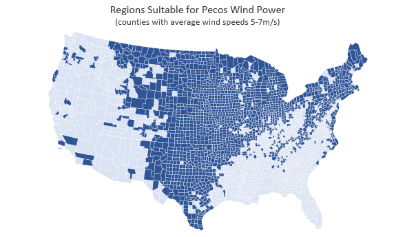 Regions suitabe for Pecos Wind Power
