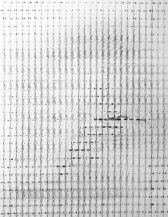 "Schirin Kretschmann, ""O.T. Grid"", 2019, Frottage (graphit on paper) 21 x 29,7 cm, © VG Bild-Kunst Bonn.jpg"