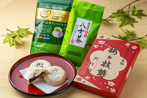 (冷凍)梅ヶ枝餅(10個入)×2セット+お抹茶セット2種 太宰府照星館