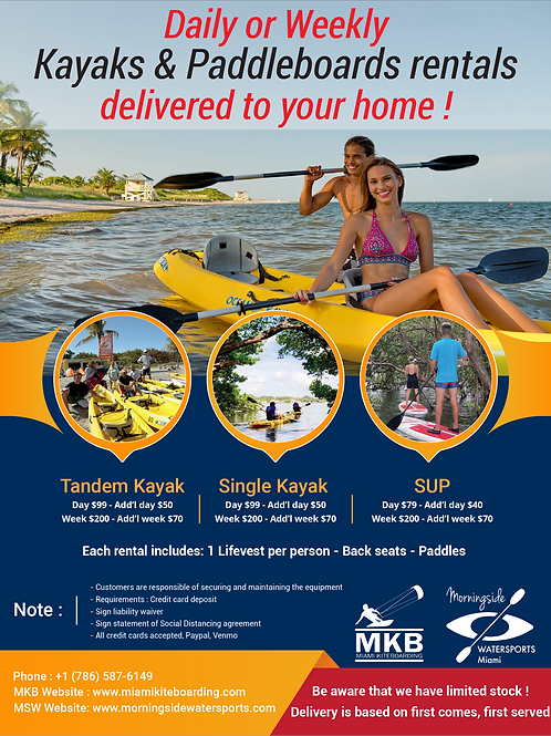 DAILY OR WEEKLY KAYAKS & PADDLEBOARDS RENTALS DELIVERED TO YOUR HOME !