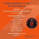 Nebraska High School Accolades Recognizing Evolution Players