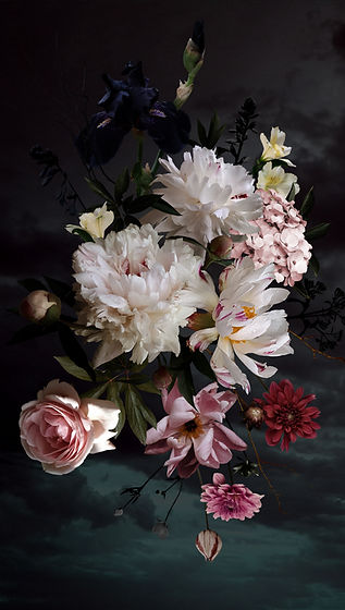 White peonies, roses and other flowers i