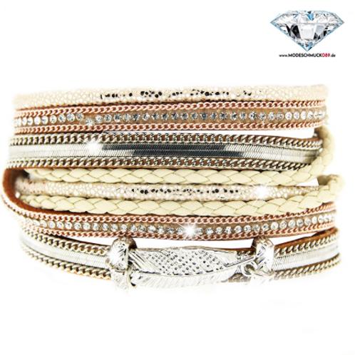 Armband MEMPHIS gold/braun/silber