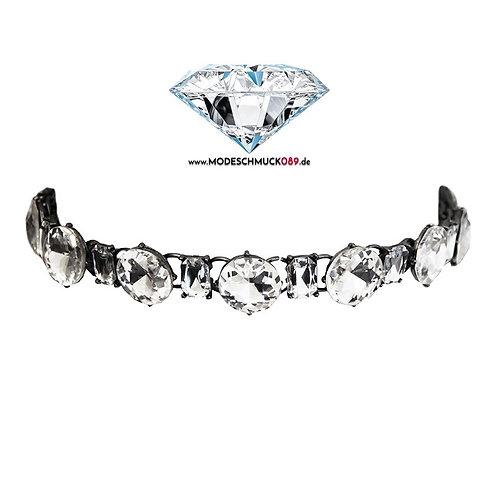 Choker KRISTALL gunmetal/crystal