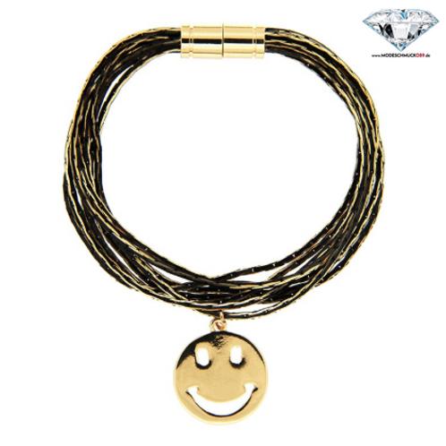 Armband SMILE   gold/schwarz
