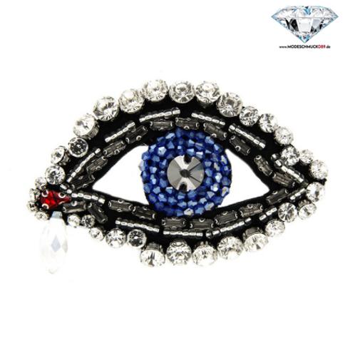 Brosche AUGE schwarz/crystal/blau