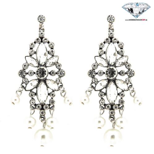 Ohrstecker BIBIANA  antiksilber/crystal/pearl