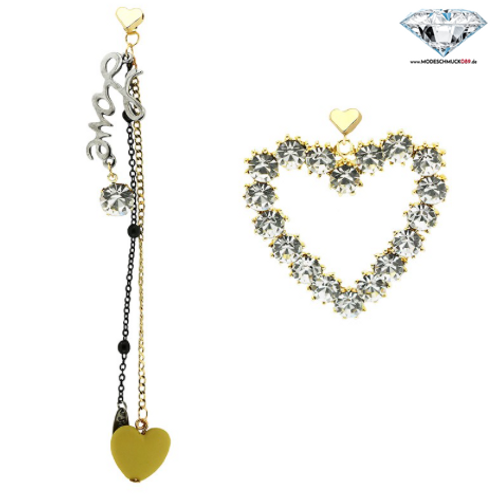 Ohrring LOVE AND HEART gold/silber/crystal