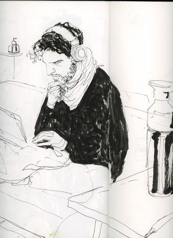 Sam on his laptop. Ink drawing in sketchbook.
