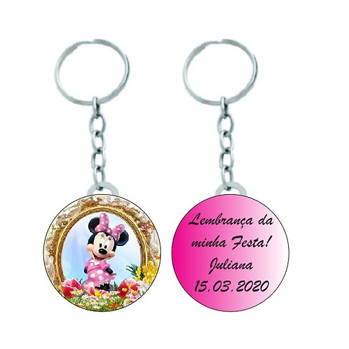 Chaveiro Redondo Minnie Rosa