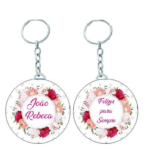 Chaveiro Redondo para Casamento Flores