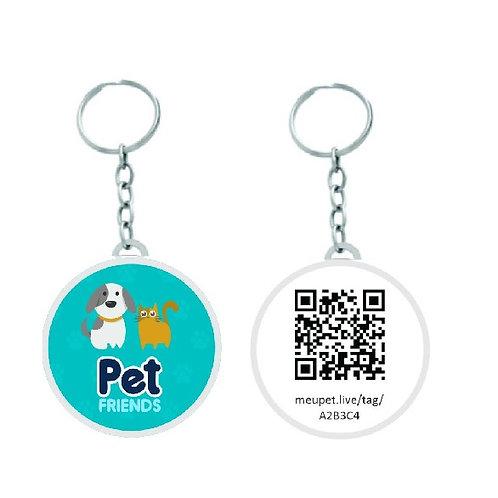 Chaveiro Redondo Pet Shop com QR CODE