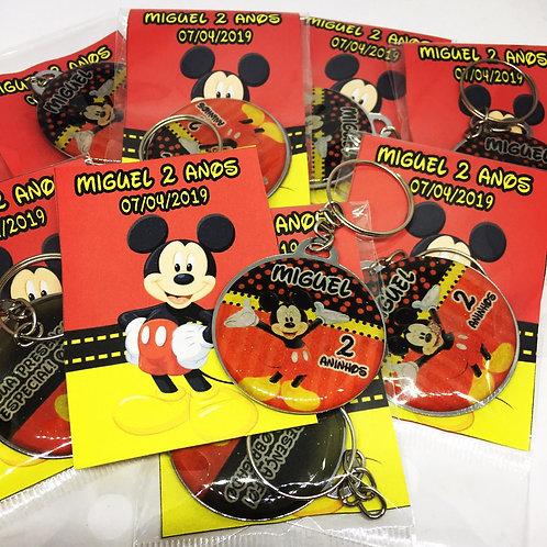 Chaveiro Redondo Mickey com Folheto