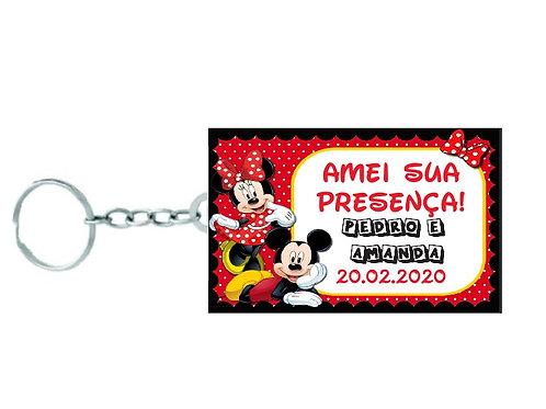 Chaveiro Quadrado Mickey e Minnie