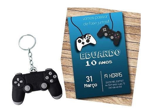 Chaveiro Emborrachado Controle Game com Folheto